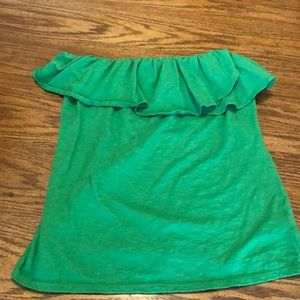 Crown & Ivy Kelly Green Ruffle Strapless Top